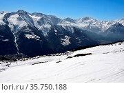 The ski resort of Bettermalp in the Valais region of Southern Switzerland. Стоковое фото, фотограф Neil Harrison / age Fotostock / Фотобанк Лори