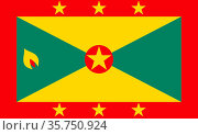 Flag of the State of Grenada. (2018 год). Редакционное фото, фотограф Peter Probst / age Fotostock / Фотобанк Лори