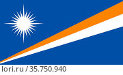 Flag of the Republic of the Marshall Islands. (2019 год). Редакционное фото, фотограф Peter Probst / age Fotostock / Фотобанк Лори