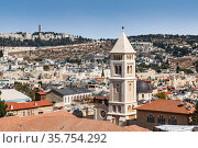 Top view of Jerusalem and lutheran church of the Redeemer. Israel (2017 год). Стоковое фото, фотограф Наталья Волкова / Фотобанк Лори