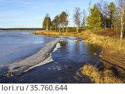 Autumn season with frozen lake and nice aftrenoon light, Gällivare... Стоковое фото, фотограф Mats Lindberg / age Fotostock / Фотобанк Лори