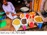 Local man selling spices at the street market in Fatehpur Sikri, ... Стоковое фото, фотограф Zoonar.com/Don Mammoser / age Fotostock / Фотобанк Лори