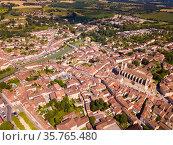 Aerial view on the city Condom. France. Стоковое фото, фотограф Яков Филимонов / Фотобанк Лори