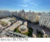 Scenic view of Valencia with Plaza del Ayuntamiento, Spain. Стоковое фото, фотограф Данил Руденко / Фотобанк Лори