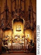Maria-Schlaf-Altar, Gotik, Kaiserdom St. Bartholomaeus, Frankfurt... Стоковое фото, фотограф Zoonar.com/Stefan Ziese / age Fotostock / Фотобанк Лори