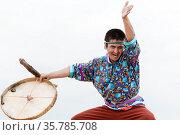 KAMCHATKA PENINSULA, RUSSIA - AUGUST 9, 2014: Expression man dancer... Стоковое фото, фотограф Zoonar.com/Alexander A. Piragis / age Fotostock / Фотобанк Лори
