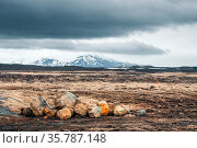Landscape with rocks and mountains in cloudy weather. Стоковое фото, фотограф Zoonar.com/Kasper Nymann / age Fotostock / Фотобанк Лори