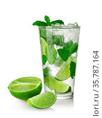 Mojito cocktail isolated on a white background. Стоковое фото, фотограф Zoonar.com/Serghei Platonov / easy Fotostock / Фотобанк Лори