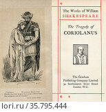 Frontispiece and title page from the Shakespeare play Coriolanus. ... Редакционное фото, фотограф Classic Vision / age Fotostock / Фотобанк Лори