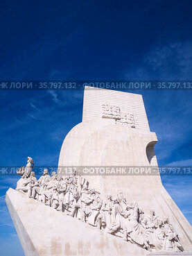 Monument to the Discoveries of the New World in Belem, Lisbon, Portugal...