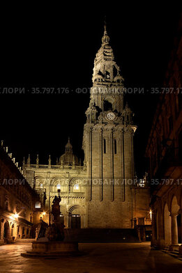 Cathedral of Santiago of Compostela seen from Silversmith Square at...