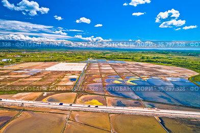 Nin salt fields and Ravni Kotari landscape in Zadar area aerial view...