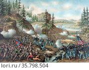 Battle of Chattanooga; Gen. Thomas' charge near Orchard Knob; Nov... Редакционное фото, агентство World History Archive / Фотобанк Лори