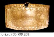 Diadem - Panama or Costa Rica 11th-16th century, hammered gold. Редакционное фото, агентство World History Archive / Фотобанк Лори