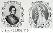 Portraits of King Louis Philippe and Queen Marie Amelie of France. Редакционное фото, агентство World History Archive / Фотобанк Лори