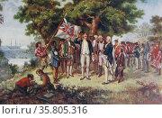 Captain James Cook, (1728 – 14 February 1779) British explorer, arriving at Botany Bay; Australia, 1770. Редакционное фото, агентство World History Archive / Фотобанк Лори
