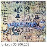 The Codex Xolotl is a post conquest cartographic Aztec codex. Редакционное фото, агентство World History Archive / Фотобанк Лори