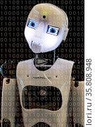 Fotomontage, der humanoide Roboter RoboThespian mit den Zahlen Null... Стоковое фото, фотограф Zoonar.com/Stefan Ziese / age Fotostock / Фотобанк Лори