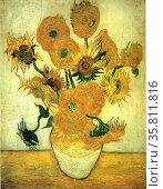 still life vase with fourteen sunflowers; 1889 By Vincent Van Gogh. Редакционное фото, агентство World History Archive / Фотобанк Лори