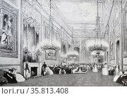 Reception at Buckingham Palace in London during the early years of Queen Victoria's reign circa 1840 (2014 год). Редакционное фото, агентство World History Archive / Фотобанк Лори
