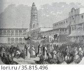 Illustration depicting a religious procession on the Plaza Mayor, Lima. Редакционное фото, агентство World History Archive / Фотобанк Лори