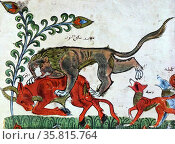 The Lion Pingalaka is one of the Panchatantra, an ancient Indian inter-related collection of animal fables. Редакционное фото, агентство World History Archive / Фотобанк Лори