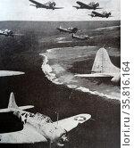 Photograph of U.S. Douglas Dauntless dive-bombers are guarding Midway. Редакционное фото, агентство World History Archive / Фотобанк Лори