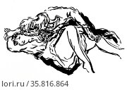 A facsimile woodcut of a drawing by Pierre Bonnard. Редакционное фото, агентство World History Archive / Фотобанк Лори