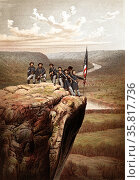 Colour lithograph of soldiers at Point Lookout, Tennessee. Редакционное фото, агентство World History Archive / Фотобанк Лори