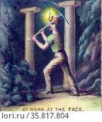 Illustration depicting American miners working. Created by Kurz and Alison Art Studio. Редакционное фото, агентство World History Archive / Фотобанк Лори