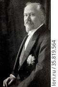 Portrait photograph of President Raymond Poincare of France. Редакционное фото, агентство World History Archive / Фотобанк Лори