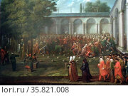 Cornelius Calkoen on his Way to his Audience with Sultan Ahmed III by Jean Baptiste Vanmour (1671-1737) oil on canvas, c 1727-1730. Редакционное фото, агентство World History Archive / Фотобанк Лори