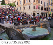 View of the Piazza di Spagna. Rome. Italy 2013. Редакционное фото, агентство World History Archive / Фотобанк Лори