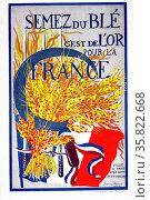 Semez du blé (Grow Wheat. It is Gold for France) 1918. Редакционное фото, агентство World History Archive / Фотобанк Лори