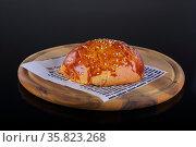 Hamburger sesame bun. Top half burger bun. Стоковое фото, фотограф Марина Володько / Фотобанк Лори