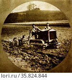 A lesson in the handling of motor ploughs and tractors. Редакционное фото, агентство World History Archive / Фотобанк Лори