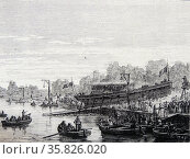Artist's impression of the launch of the Marquis de Jouffroy's  steam ship 'Charles-Philippe' on the Seine at Bercy, France, 20 August, 1816. Engraving, Paris, c1870. Редакционное фото, агентство World History Archive / Фотобанк Лори