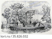 Scottish engineer William Symington's (1763-1831) second steamboat 'Charlotte Dundas' c1802. Stern paddle with connecting rod and crank to engine as inventied by James Watt. Engraving c1880. . Редакционное фото, агентство World History Archive / Фотобанк Лори