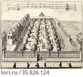 Aachen (Aix-la-Chapelle), famous spa town known to the Romans as Aquisgranum. Here ladies and gentelmen are taking a stroll in the spa gardens. From ''Amusemens des eaux d'Aix-la-Chapelle'', Amsterdam, 1736. . Редакционное фото, агентство World History Archive / Фотобанк Лори