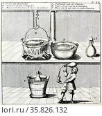 Aachen, famous spa town, known to the Romans as Aquisgranum. Bringing the spa water to the correct temperature for consumpton. From ''Amusemens des eaux d'Aix-la-Chapelle'', Amsterdam, 1736. . Редакционное фото, агентство World History Archive / Фотобанк Лори