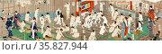 Hada kurabe hana no shobuyu kurabe (hoso?), koshi yuki no ya. Translation: Naked bodies compared to irises in hot water, comparing hips to a snow laden willow in hot water. by Toyonaka, Kunichika, 1835-1900, artist 1868. Редакционное фото, агентство World History Archive / Фотобанк Лори