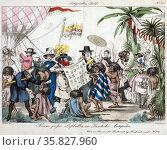 Greens grosser Luftballon im Lande der Antipoden Austrian print by Johann Wenzel Zinke 1797-1858. Редакционное фото, агентство World History Archive / Фотобанк Лори