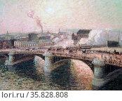 Le Pont Boieldieu a Rouen, Soleil Couchant, 1895 by Camille Pissarro, (1830-1903). (Sunset over the Boieldieu bridge at Rouen, Brittany) 1896. Редакционное фото, агентство World History Archive / Фотобанк Лори