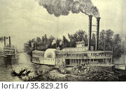 Currier & Ives Illustration 19th Century. Mississippi paddle steamer. Редакционное фото, агентство World History Archive / Фотобанк Лори