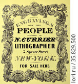 Currier & Ives Illustration 19th Century. Bookplate for title page : Coloured engravings for the people. Редакционное фото, агентство World History Archive / Фотобанк Лори