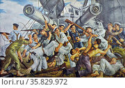 Spanish Civil War: 'Mutiny on the battleship Spain' by J. Valverde. In July 1936 the Espana, by then a decrepit ship, was in reserve at El Ferrol with a reduced complement. The battleship was seized by the nationalists after a Republican attempt to defend her (2013 год). Редакционное фото, агентство World History Archive / Фотобанк Лори