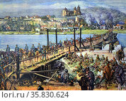 Postcard showing the German army crossing the West-bank of the Rhine (France) near Breisach as captured French soldiers look on. Редакционное фото, агентство World History Archive / Фотобанк Лори