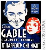 It Happened One Night' starring Clark Gable and Claudette Colbert. Winner of all 5 major 1934 Oscars. Редакционное фото, агентство World History Archive / Фотобанк Лори