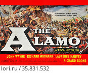 The Alamo' starring John Wayne, Richard Widmark, Laurence Harvey and Richard Boone. The Battle of the Alamo (February 23 – March 6, 1836) was a pivotal event in the Texas Revolution. Редакционное фото, агентство World History Archive / Фотобанк Лори