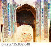 Niche in back wall of Shakh-i Zindeh Mosque, Russia by Sergei Mikhailovich Prokudin-Gorskii, Редакционное фото, агентство World History Archive / Фотобанк Лори